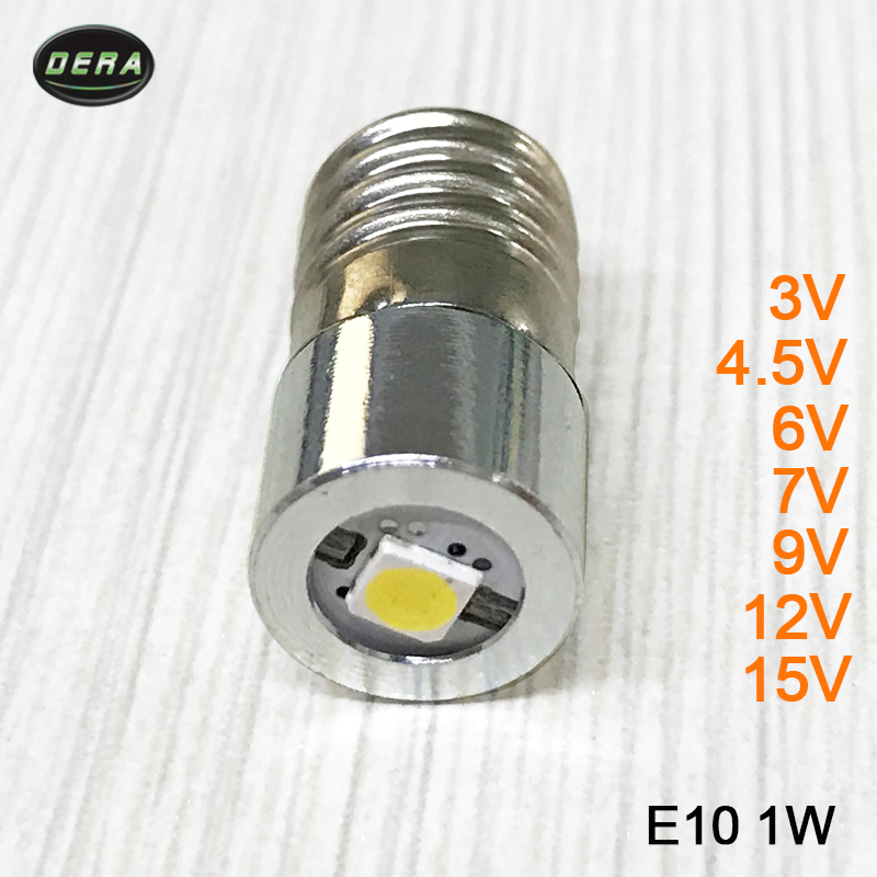 High brightness E10 <font><b>1w</b></font> 3v 3.7v(3.4-4.2v) 4.5v 6v 7.5v 9v <font><b>12v</b></font> 15v <font><b>LED</b></font> flashlight torch bulbs with <font><b>led</b></font> flashlight bulb Head lamp image