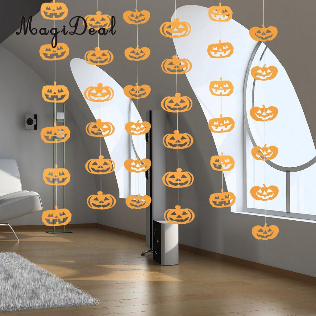 36pcs scary halloween paper pumpkin bats skull ghost banner garland home window ceiling party hanging decoration - Halloween Ceiling Decorations