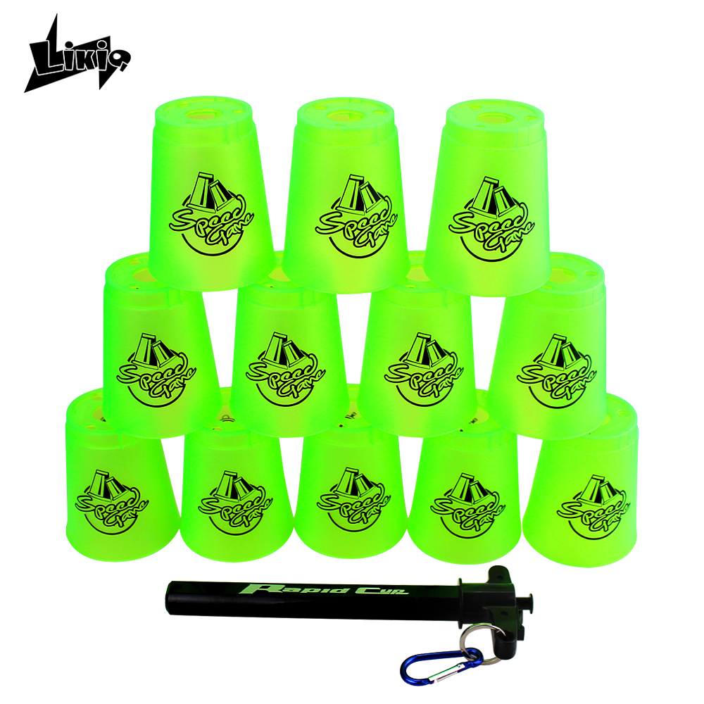 Likiq 12pcs/set Speed cups Rapid Game Sport Flying Stacking Christmas gift with net bag and hand lever sports special shape toys new z display for speed cubing magic cube timer puzzle display use in speed flying cups 3x3 speed cube twisty educational toys