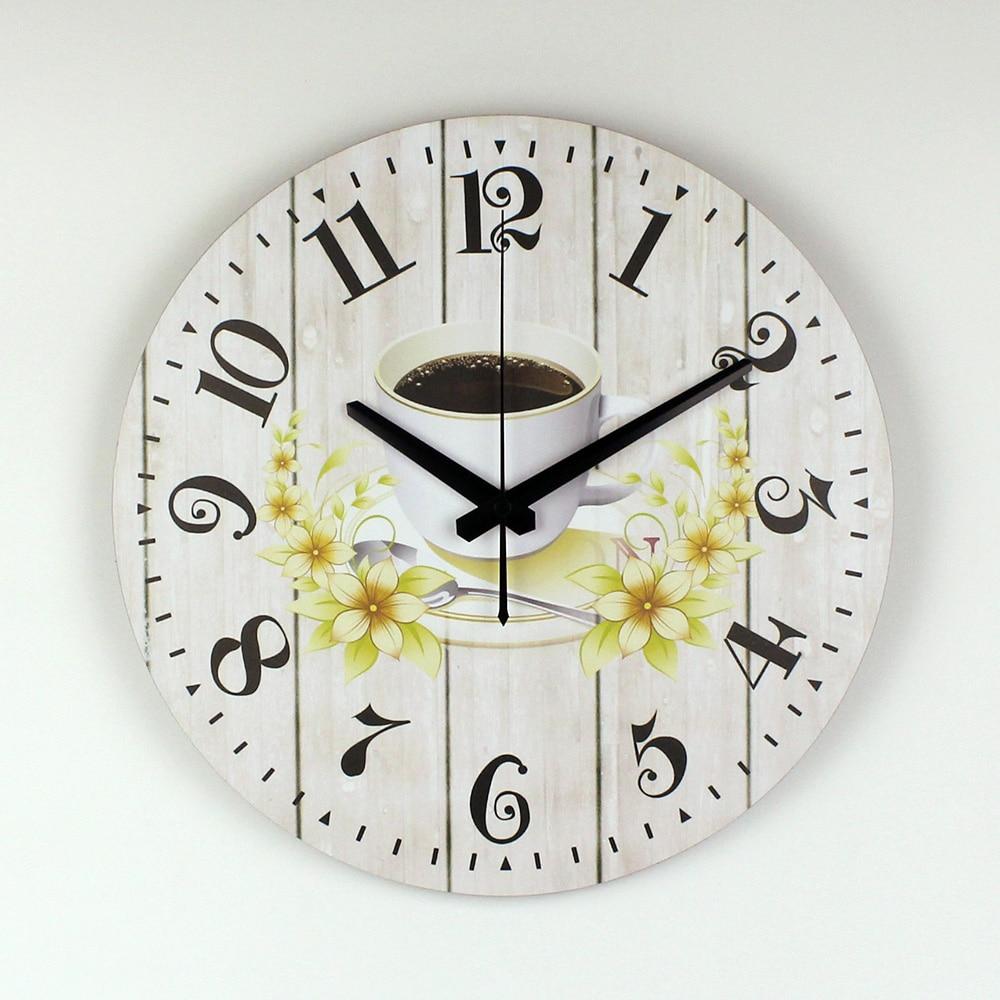 € 14.67 35% de DESCUENTO|Cocina moderna Reloj de Pared Creativo de Diseño  de Garantía 3 Años El Café Decorativo Reloj de Pared de Estilo Mediterráneo  ...