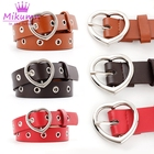 New Fashion Black Red Pink Blue White Pu Leather Belt Waistband Women Punk Metal Heart Buckle Grommet Belts Jeans Accessories