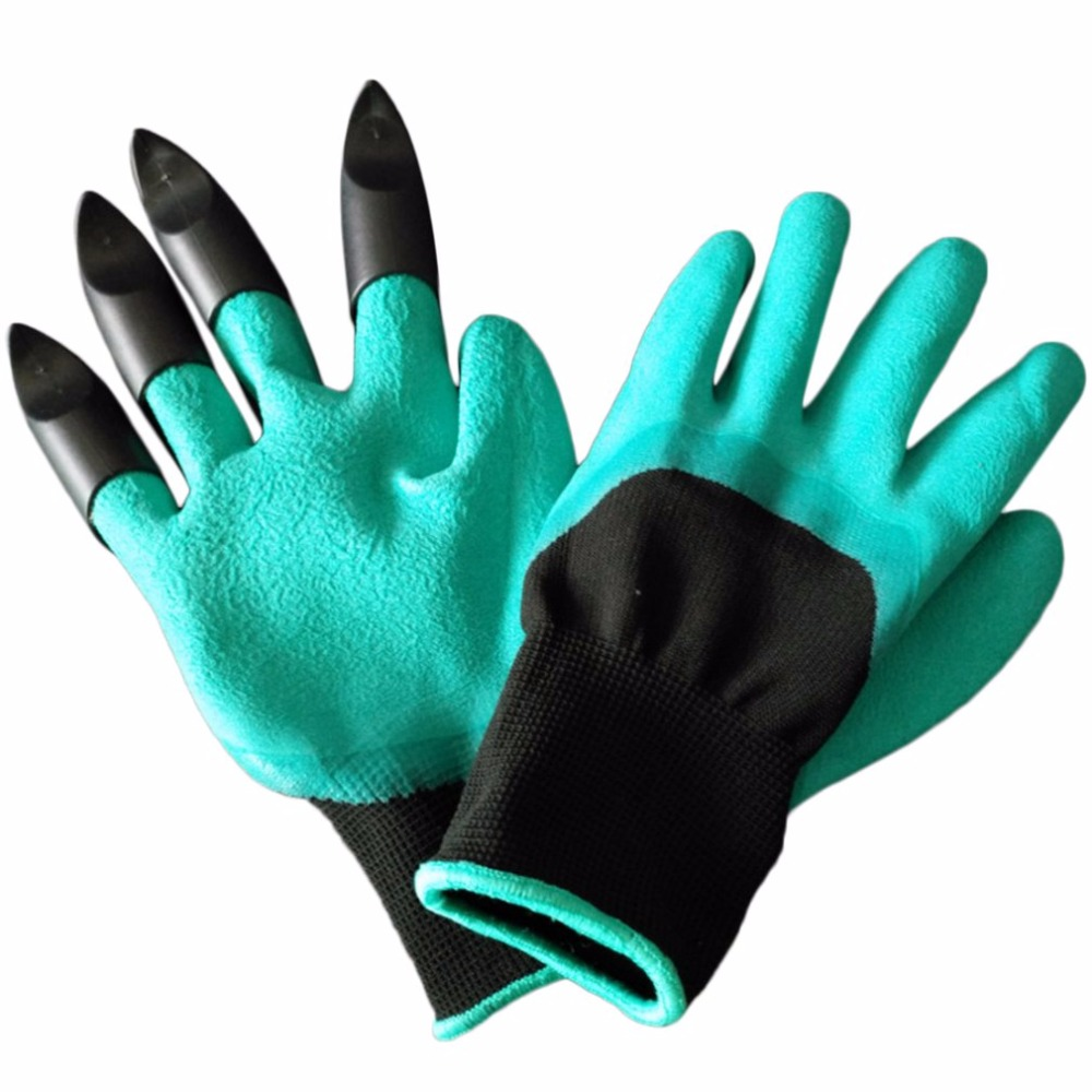 Garden working Gloves Fingertips Claws Planting Gloves Quick Easy to Dig & Plant Safe Gloves Full Finger Mittens Digging Gloves new garden gloves for digging