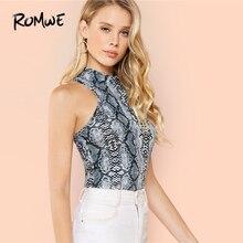 ROMWE Mock Neck Snake Skin Top 2019 Glamorous Women Stand Collar Sexy Stylish Fe