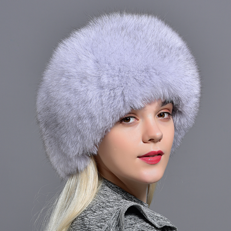 Raglaido Real Fox Fur Bomber Hat for Women with Leather Thick Warm Sheepskin 56-60cm Lady Winter Caps LQ11190