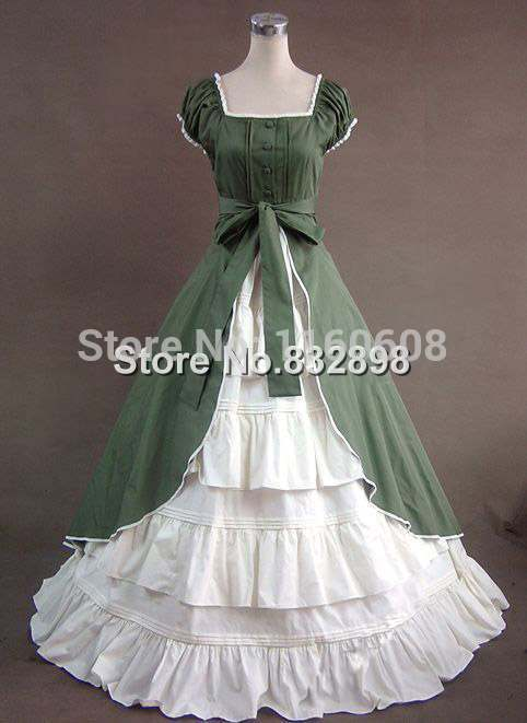Green Colonial Dress Ball Gown Theater Reenactment Gothic Victorian ...
