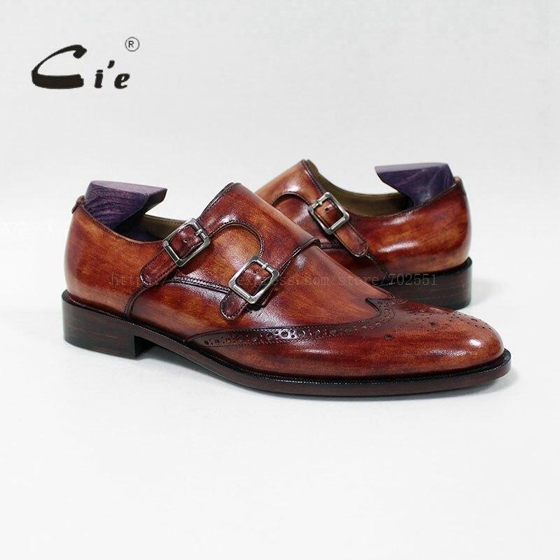 Ayakk.'ten Resmi Ayakkabılar'de Cie yuvarlak ayak tam brogues madalyon monk sapanlar 100% hakiki dana derisi taban nefes erkek deri ayakkabı düz MS 00 02'da  Grup 1