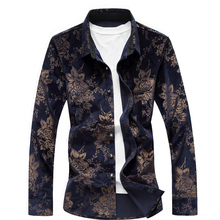 2018 New Design Spring Chinese Style Men Gold Velour Casual Shirt Long Sleeve Fashion Print Party Male Plus Size M-7XL