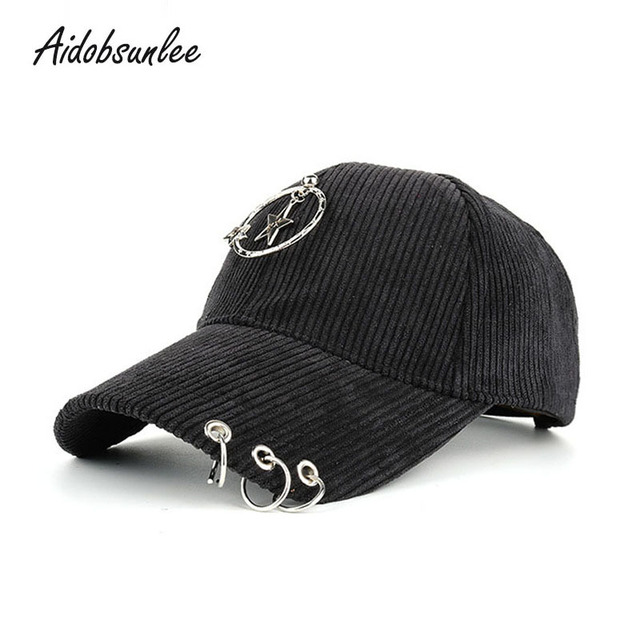 2017 High Quality Corduroy Snapback Cap Baseball Cap Metal Ornaments Hat  Pendant Men Women Boy Girl fe7a33658b4