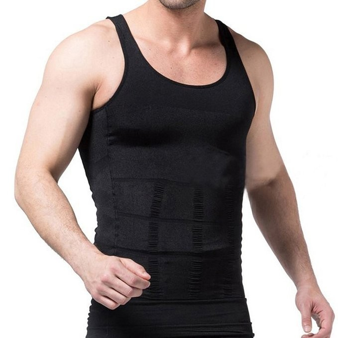 X Ventilation Comfort Men Body Shaper Slimming Vest Chest And Abdomen Tight Waist Breathable Underwear Black White Plus Size 5
