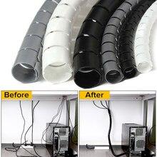 1 pçs 1.5/2m flexível espiral cabo organizador de armazenamento protetor de cabo de tubulação gestão cabo dobadoura mesa arrumado cabo acessórios