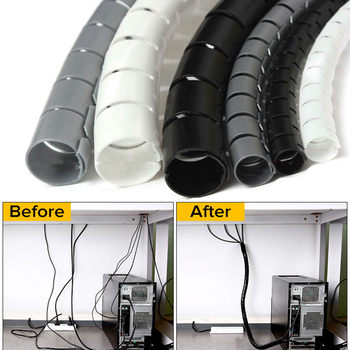 1 Pcs 1.5/2m Flexible Spiral Cable Organizer Storage Pipe Cord Protector Management Cable Winder Desk Tidy Cable Accessories