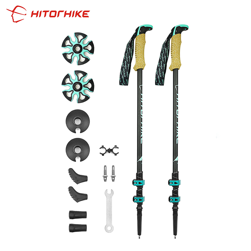 195g/pc Carbon Fiber External Quick Lock Trekking Pole Hiking Telescope Stick Nordic Walking Stick Shooting Crutch Senderismo