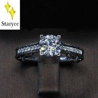 18 К белого золота муассанит кольцо 1CT эффект GH Обручение кольцо Тесты положительный Муассанит Diamond Band Свадебные украшения для невесты