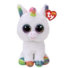 Elsadou Ty Beanie Boos Stuffed & Plush Animals Boneka Mainan Unicorn Putih Warna-warni