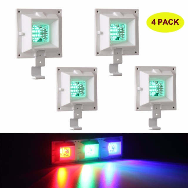 4 Packs 6 Leds Outdoor Lighting Solar Gutter Light Red Blue Green Colors Lamp Ip44 Waterproof For Garden