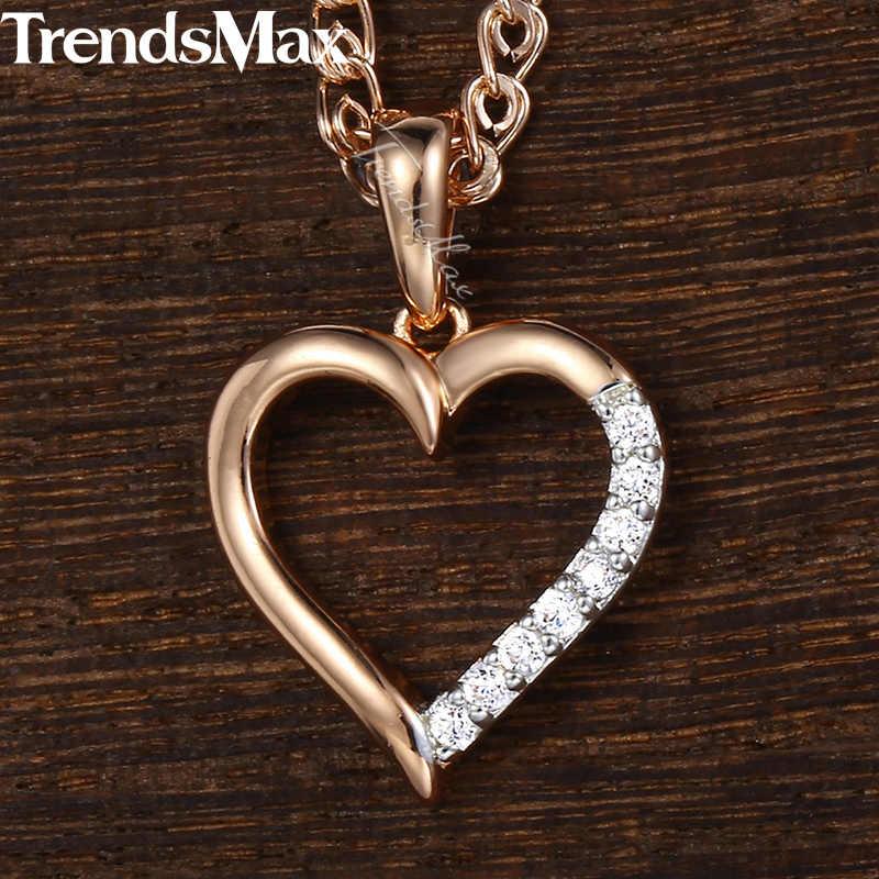 Trendsmax, женское ожерелье, подвеска в виде сердца, со льдом, проложенные Стразы, роза, позолота, цепочка в виде змеи, ожерелье для женщин, KGP226
