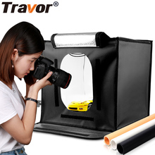 Travor 40*40*40cm LED studio softbox folding light tent lighting box 5500K CRI95 with three background for Jewelry Toys Shooting