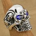 US Size 8~15 Purple CZ Stone Eyes Solid 925 Sterling Silver Titan Skull Mens Biker Rock Punk Ring 8V505