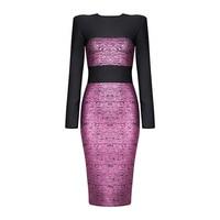 Purple Metallic Patchwork O Neck 2017 News Long sleeve Dress High Quality Bodycon Sexy Women's Bandage Dress Party Night Dresses