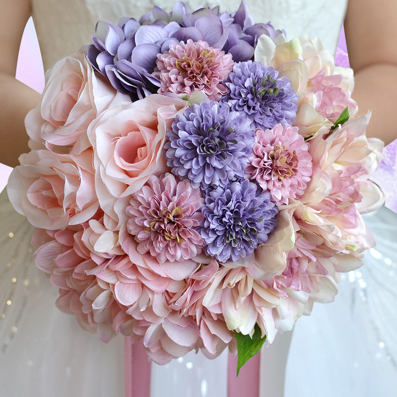 Artificial Bruidsboeket Wedding Bouquet for Brides Ribbon Flower ...