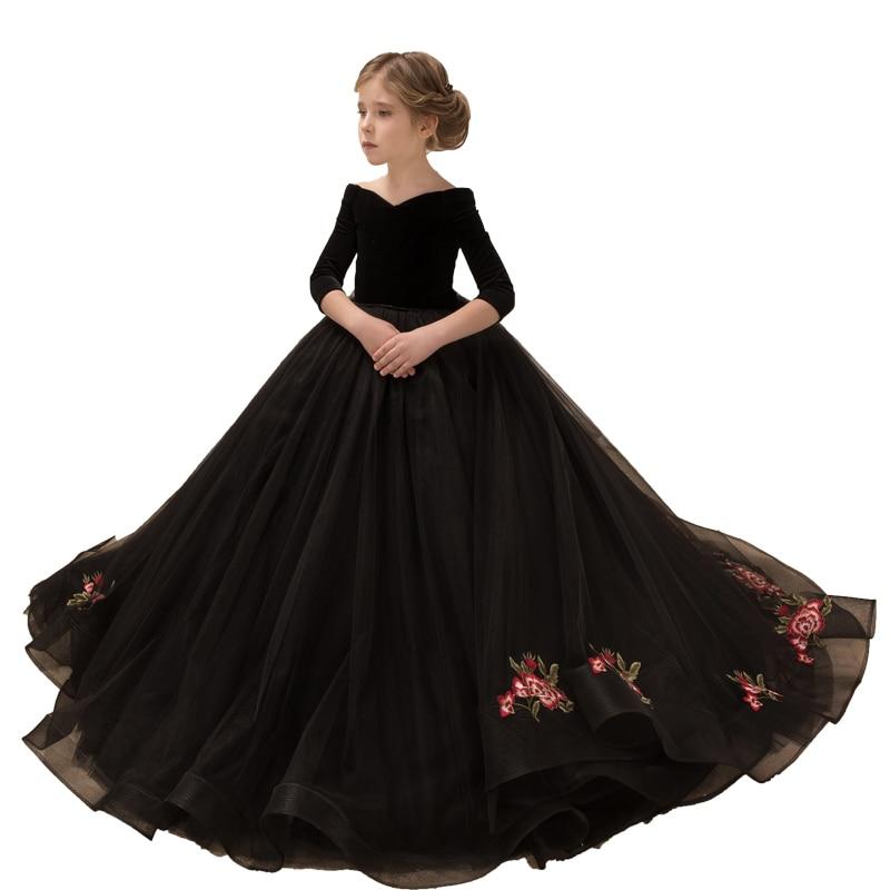 Long Sleeve Kids Evening Ball Gowns Black Formal Little   Girls   Pageant   Dress   Party Wedding Elegant   Flower     Girl     Dresses   Long Train