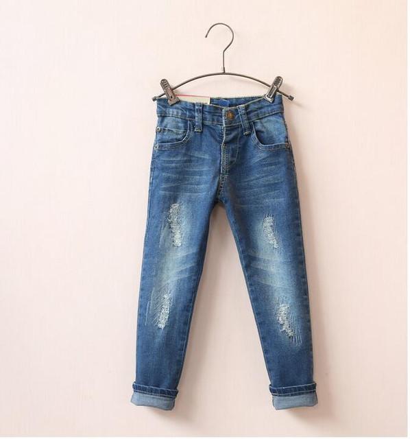 1501545 Retail Nova Primavera 2016 Baby Girl Jeans Afligido Sólido Da Menina Calças Jeans Skinny Crianças Roupas Casuais