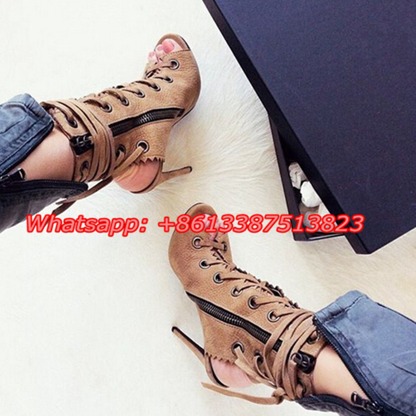 Sexy Gladiator Sandals Lace Up Side Zipper Slingbacks Booties Suede Peep Toe Platform Stiletto High Heels Fashion Ankle Boots dark blue belted peep toe fashion booties