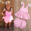 2017Summer 2Pcs Newborn Infant Baby Girls Tops Pullover Sleeveless T-shirt+Pink Striped Short Pants Outfits Clothing Set Clothes