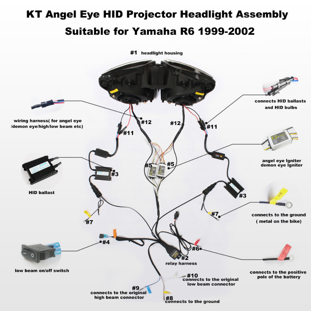 KT Headlight for Yamaha YZF R6 1999 2002 LED Dual Angel Eye Red Demon Eye  Motorcycle HID Projector Assembly 2000 2001 on Aliexpress.com | Alibaba  Group