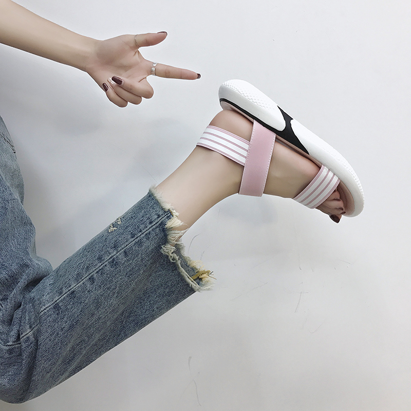 Casual sandals female summer thick bottom simple 2019 new students wild retro flat sandals tide 28