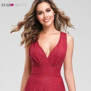 Image 5 - נקודה אדומה ערב שמלות ארוך פעם די אונליין צווארון V שרוולים שמלות רשמיות סקסי מסיבת קיץ שמלות Robe De Soiree 2020
