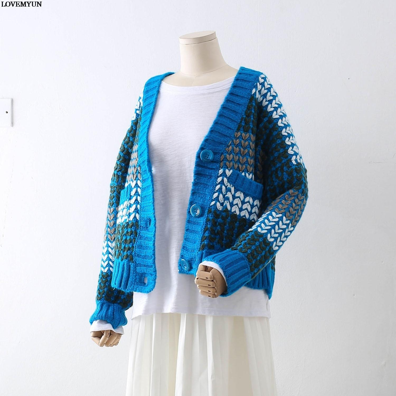 Long bleu noir Féminine De Vêtements 2018 Épais Tops Beige Femmes Mode Tout vert Cardigan Et Manteau Lâche allumette Chandail Tricoté rUpFrwqx