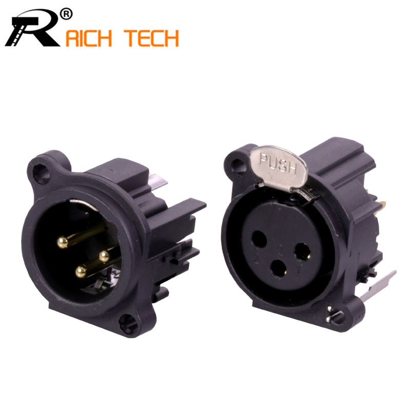 1pair/2pcs XLR connector Black Plastic 3pin XLR Male/Female jack panel mount with PUSH button audio jack speaker plug корпус zalman z9 black w o psu