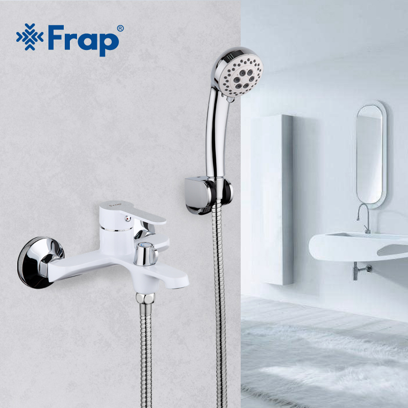 FRAP White Bathroom Fixture Waterfall Restroom Bath Shower Faucets Set Wall Mounted Bathtub Cold and Hot