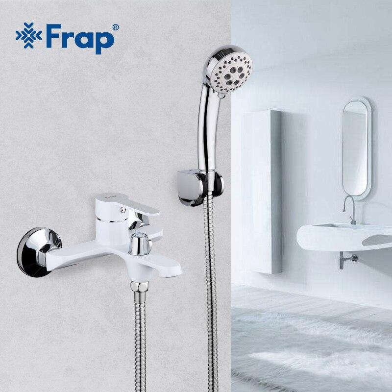 FRAP белый Ванная Комната Приспособление водопад Туалет для ванной душ Набор смесителей настенный холодной и горячей воды смесителя F3241