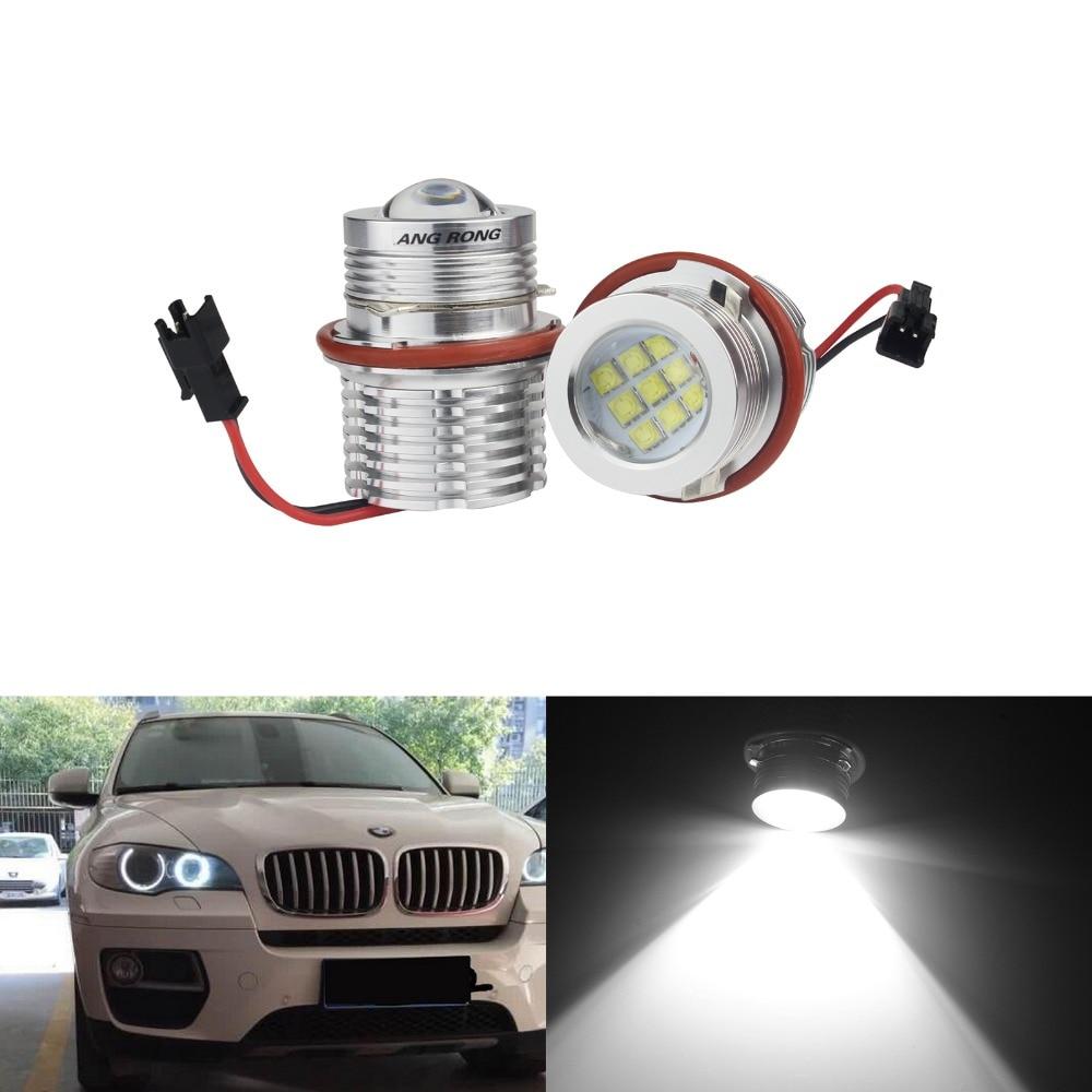 ANGRONG 2x Pour BMW E39 E60 E61 E87 E53 E63 E65 E83 X3 LED Oeil D'ange Halo Lumineux Ampoule 90 W série 5 E39 M5 (CA291)