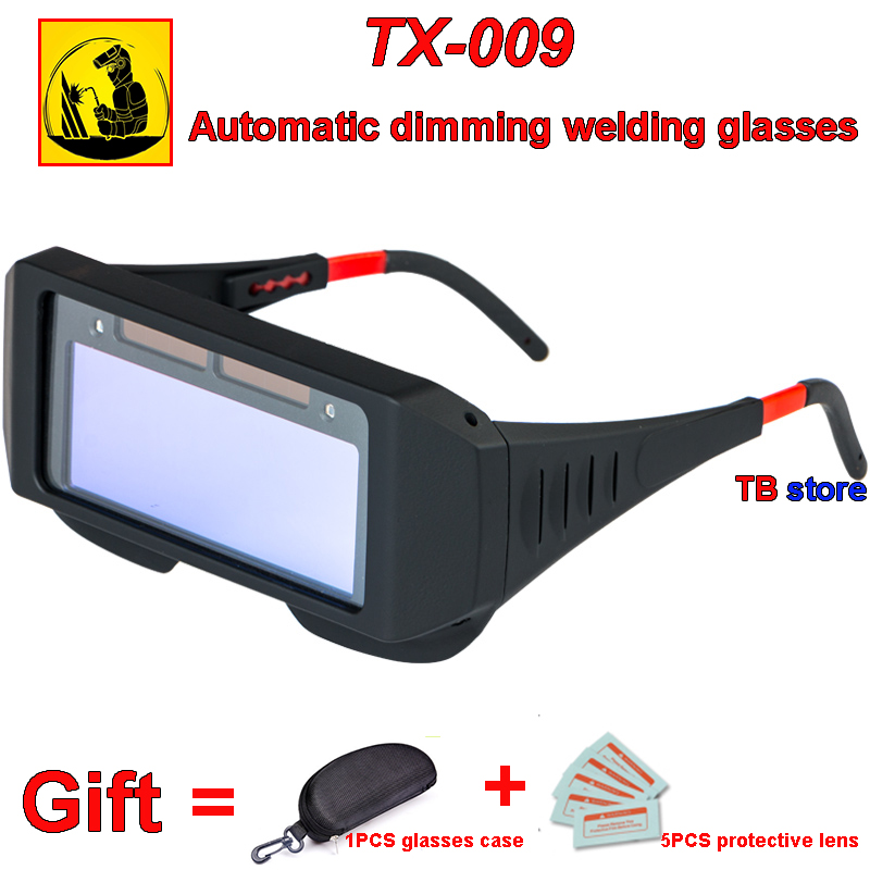 TX-009 Solar Energy Automatic Dimming Welding Glasses 1PCS Goggles + 1 PCS Glasses Case + 5PCS Protective Lens Protection Goggle