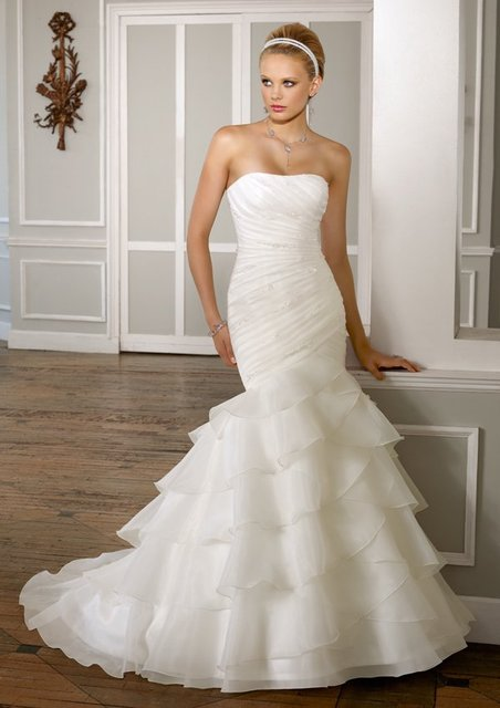 best selling sleeveless mermaid trumpet organza designer wedding dresses with ruffles
