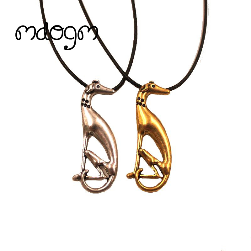 Mdogm 2018 Greyhound Necklace Dog Animal Pendant Antique Gold Silver Plated Fashion Jewelry For Women Male Wholesale N136
