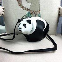 [Hely Coptar] Lolita Estilo 100% Genuine Leather Designer Mulheres Mini Saco Crossboday Panda Bonito de Alta Qualidade em Preto e Branco