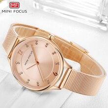 MINIFOCUS Minimalist Rose Golden Elegant Quartz Women Watches Top Brand Luxury Mesh Strap Crystal Dress Chic Ladies Wrist Watch