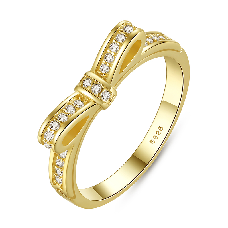 f2ddaeed9 ... clearance authentic 925 sterling silver 2 color sparkling bow knot  stackable ring micro pave cz for
