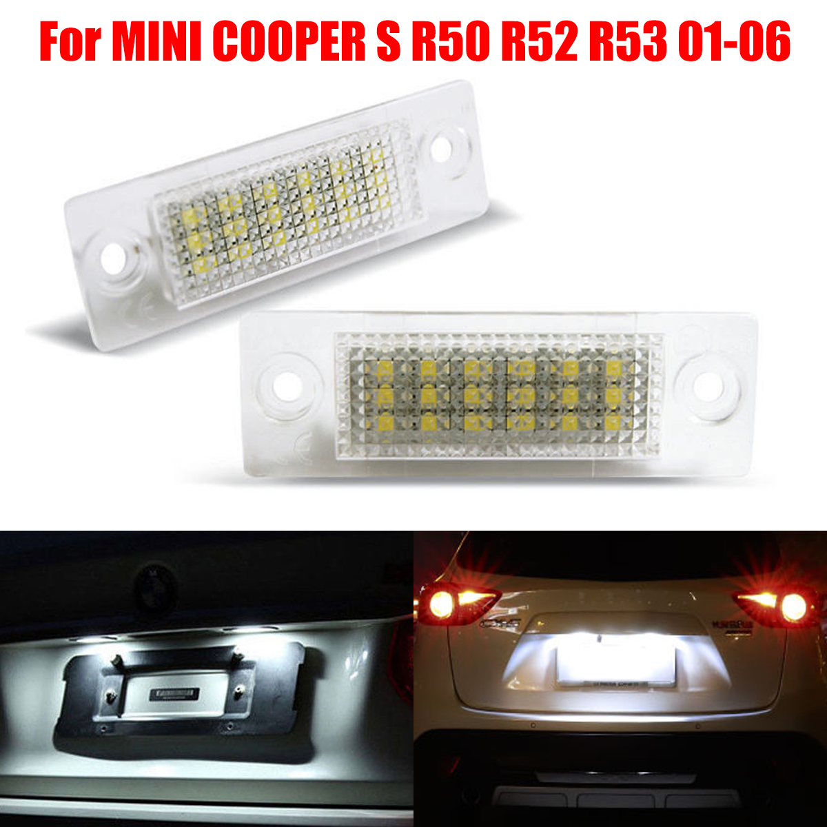 2Pcs License Number Plate Light Lamp 18-LED For VW/Caddy/Transporter/Passat/Golf/Touran/Jetta For Skoda No Error high quality plastic and led bulbs 2pcs white error free 18 led license plate light lamp kit for vw golf eos passat polo phaeton