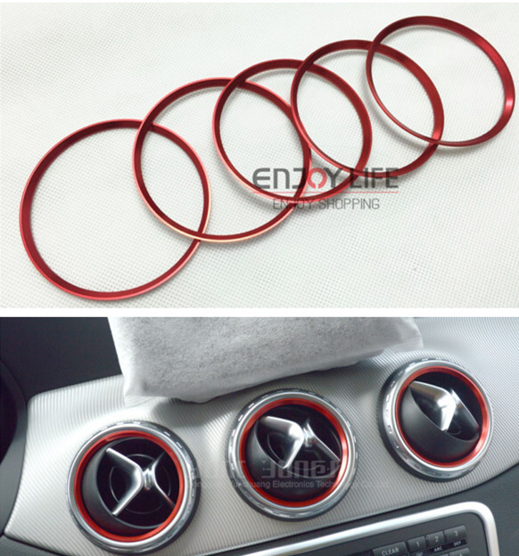 5pcs Red Air Condition Air Vent Outlet Ring Cover Trim Decoration for Mercedes Benz A B Class W246 W176 Accessories lapetus accessories for toyota rav4 rav 4 2016 2017 2018 console central air condition ac outlet vent molding cover kit trim