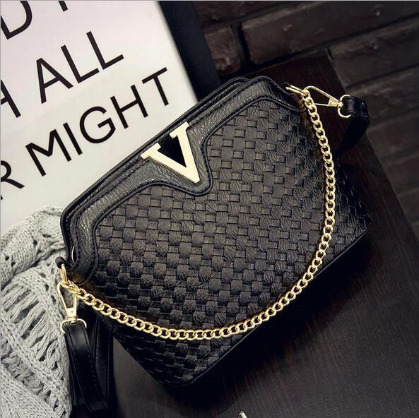 WORTHFIND Knitting Women Messenger Bags Fashion Shell Female Bag Women Leather Bag Durable Crossbody Women Bag Ladies Shoulder