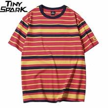 Camiseta Retro Vintage a rayas para hombre, ropa de calle, camiseta Harajuku, camiseta de Hip Hop, camisetas casuales de moda, camisetas de manga corta 2019