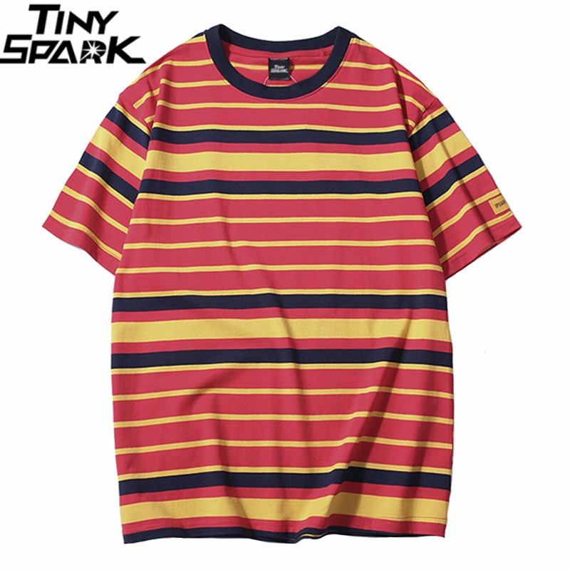 Retro Vintage Striped T Shirt Streetwear Harajuku T-Shirt Men 2019 Summer Hip Hop Tshirt Fashion Casual Tops Tees Short Sleeve