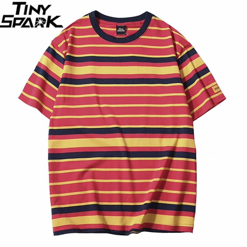 Retro Vintage Striped T Shirt Streetwear Harajuku T-Shirt Men 2019 Summer Hip Hop Tshirt Fashion Casual Tops Tees Short Sleeve