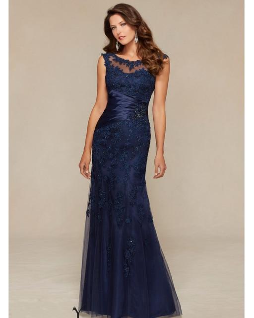2184b95464 Vestido De Madrinha Sereia Azul Marinho Sereia Mãe da Noiva Vestidos de  Renda Vestido de Noite