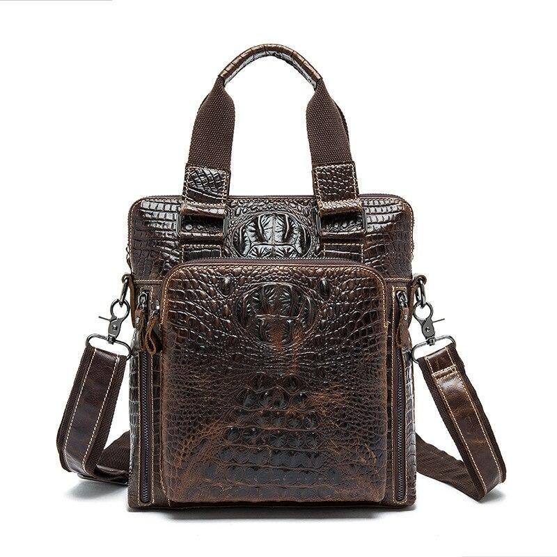 Crocodile Genuine Leather Bag Men Bag Cowhide Men Crossbody Bags Men's Travel Shoulder Bags Tote Ipad Briefcases Handbag